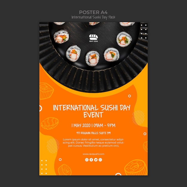 Poster template for sushi restaurant Free Psd