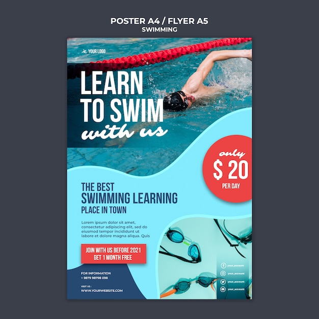 Poster template for swimming lessons with professional swimmer Free Psd