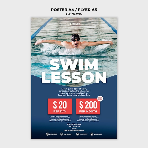 Poster template for swimming lessons Free Psd