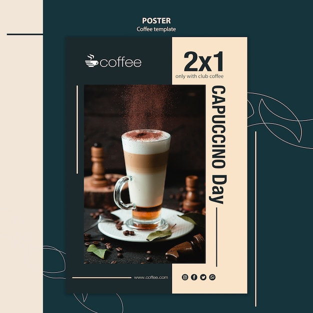 Poster template theme with coffee Free Psd