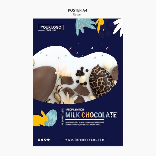 Плакат шаблона темы с темным шоколадом на пасху Бесплатные Psd