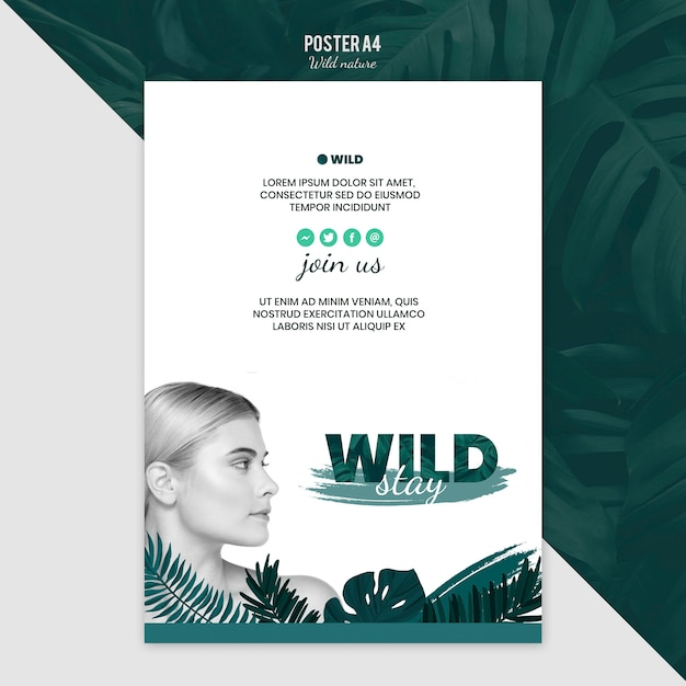 Poster template theme with wild nature Free Psd