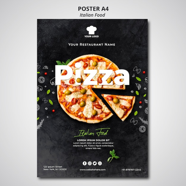 Poster template for traditional italian food restaurant Free Psd