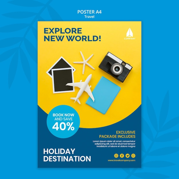 Poster template for vacation traveling Free Psd