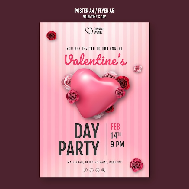 Poster template for valentine's day with heart and red roses Premium Psd