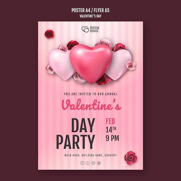 Modello di poster per san valentino con cuore e rose rosse Psd Gratuite