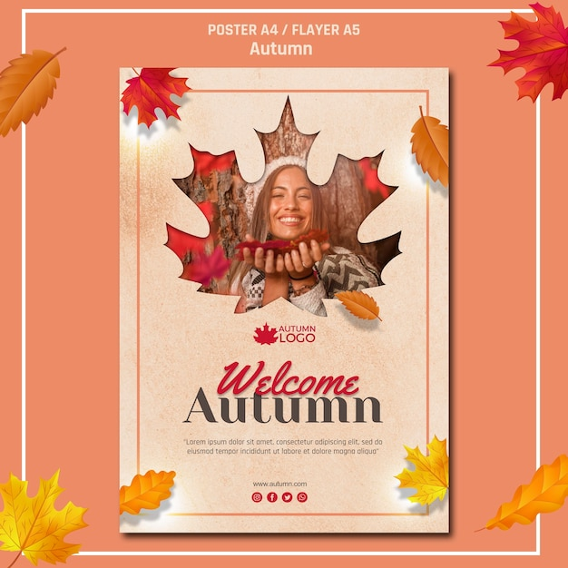 Poster template for welcoming autumn season Free Psd