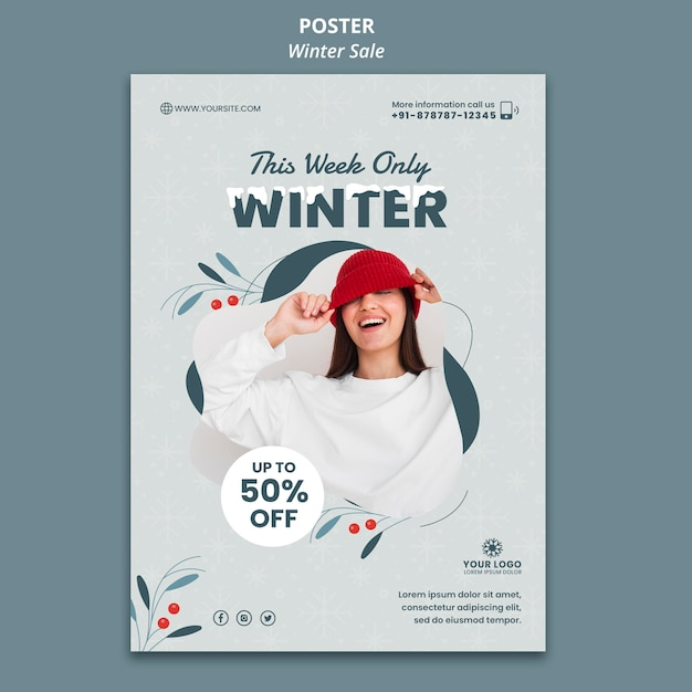 Poster template for winter sale Free Psd