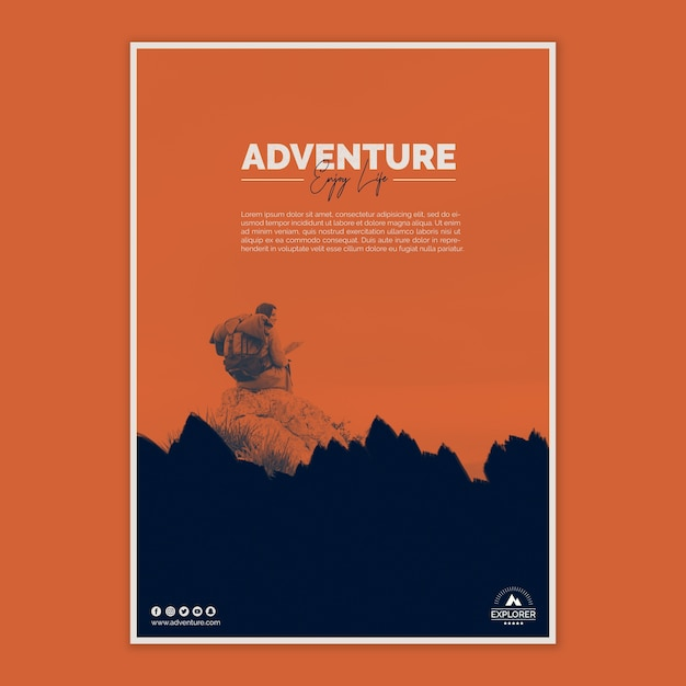 Poster template with adventure concept Free Psd