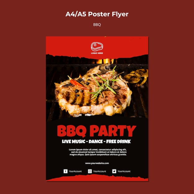 Poster template with barbeque concept Free Psd