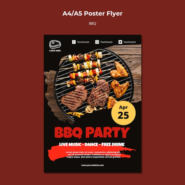 Poster template with barbeque theme Free Psd