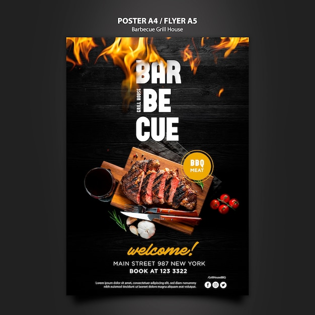Poster template with barbeque Free Psd