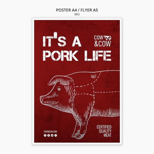 Шаблон постера с концепцией барбекю Бесплатные Psd