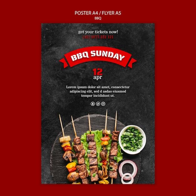 Шаблон постера с дизайном барбекю Бесплатные Psd