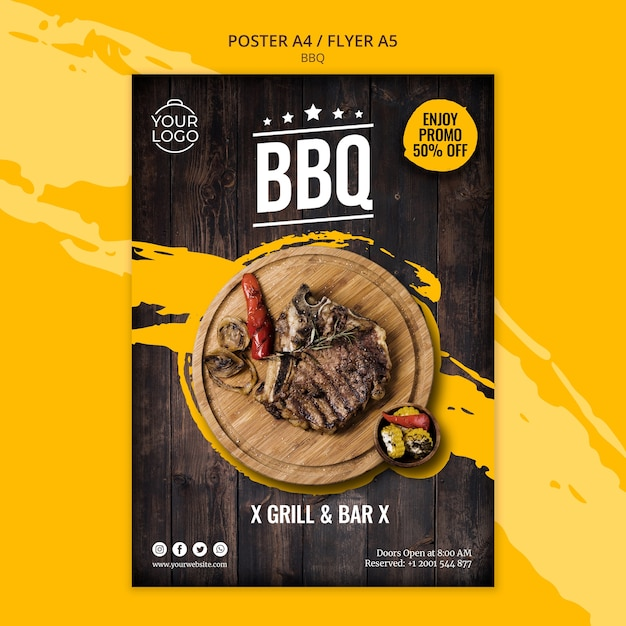Poster template with bbq Free Psd