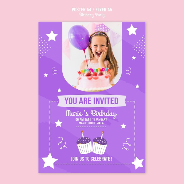 Poster template with birthday invitation theme   Free PSD File