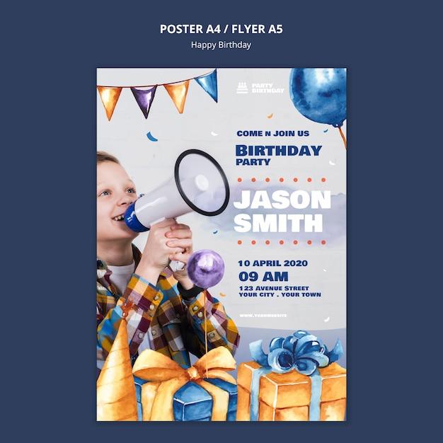 Modello di poster con tema festa di compleanno Psd Gratuite