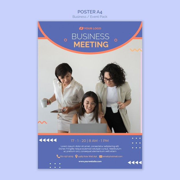 Poster template with business event theme Free Psd