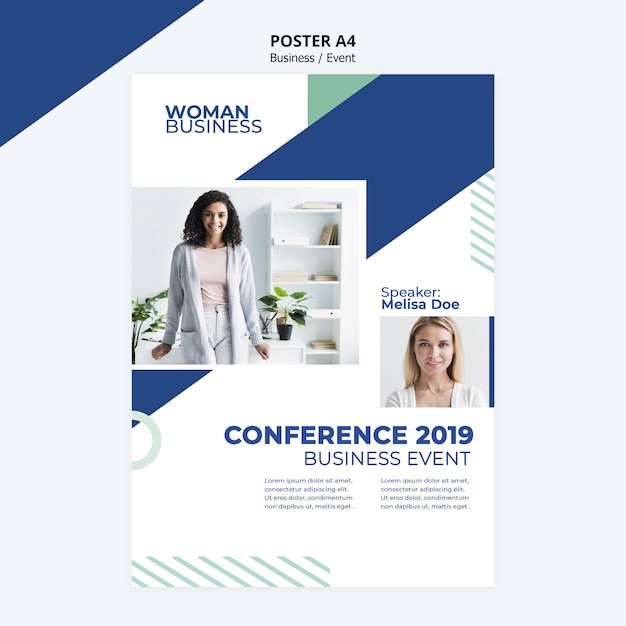 Poster template with business woman concept Free Psd