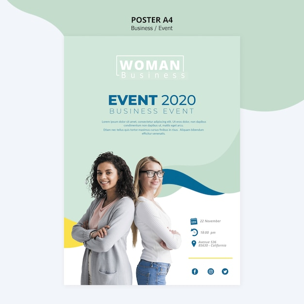 Poster template with business woman design Free Psd