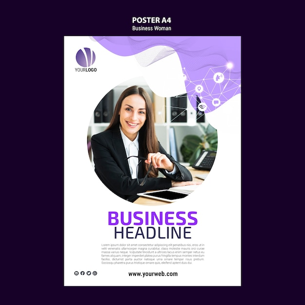 Poster template with business woman Free Psd