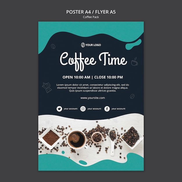 Poster template with coffee design Free Psd