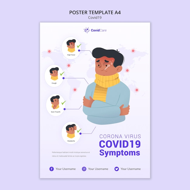 Poster template with covid19 | Free PSD File