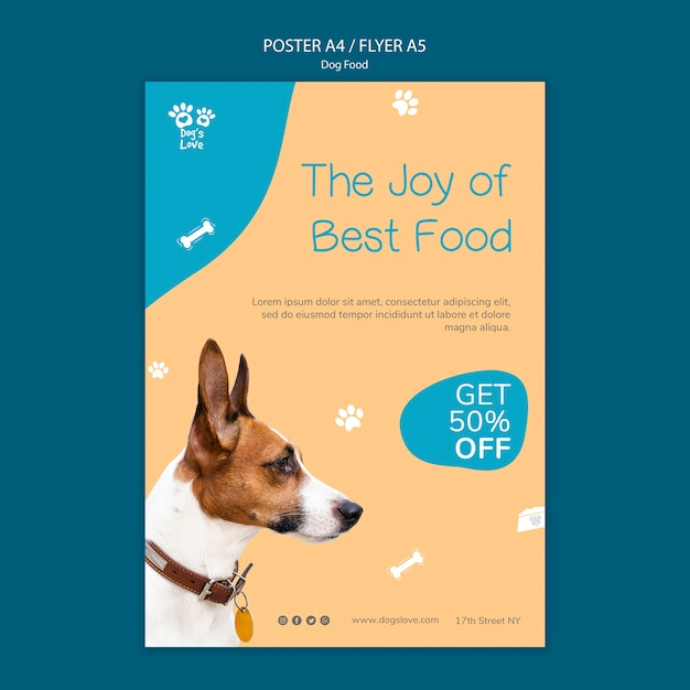 Poster template with dog food theme Free Psd