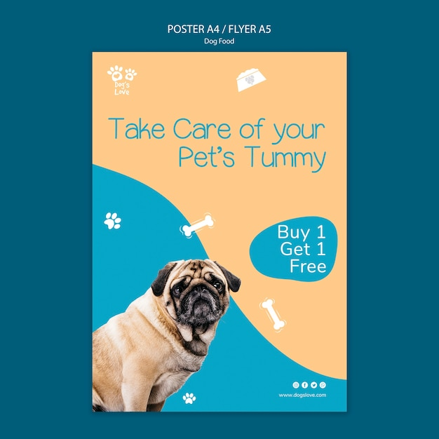 Poster template with dog food Free Psd