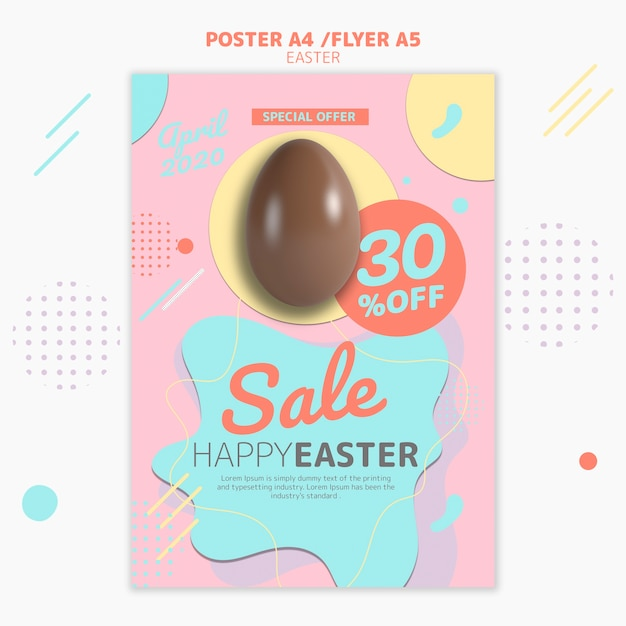 Poster template with easter day sale Free Psd