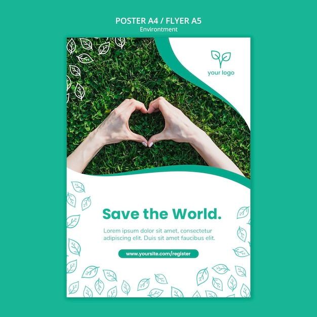 Poster template with environment design Free Psd