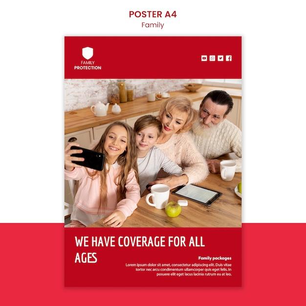 家族のデザインのポスターテンプレート 無料 Psd