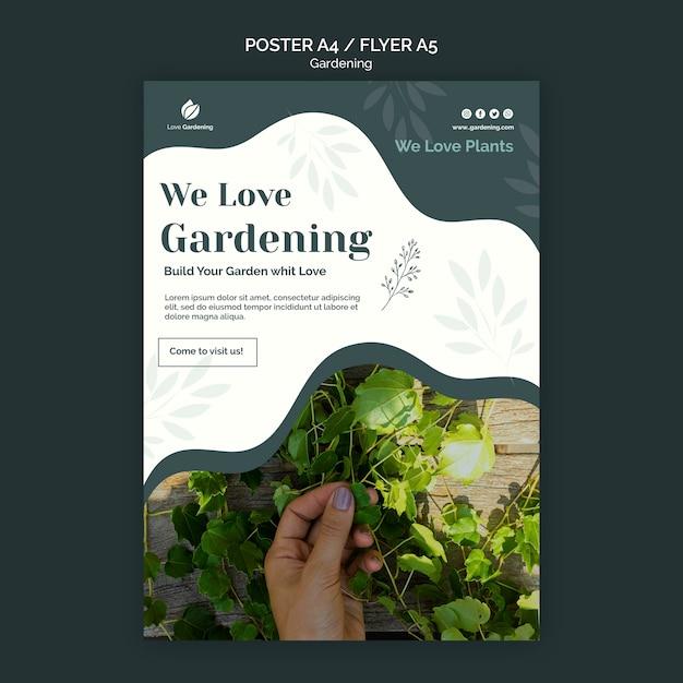 Шаблон плаката с садоводством Бесплатные Psd