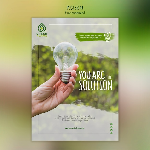 Poster template with hand holding light bulb Free Psd