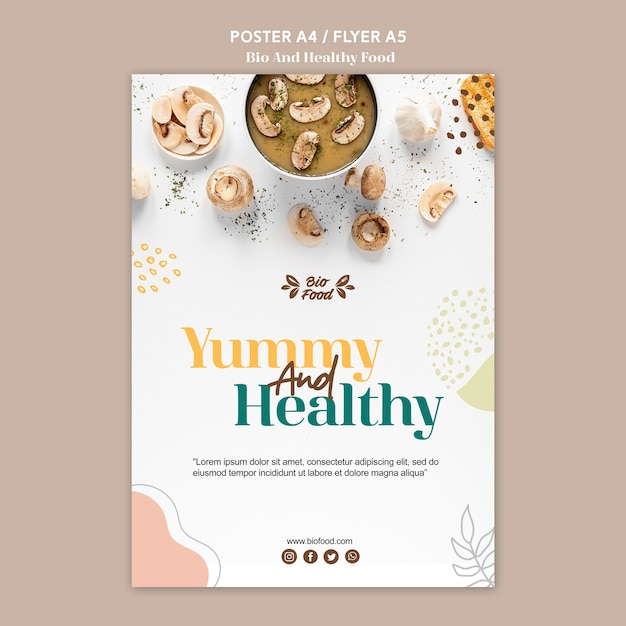 Poster template with healthy food concept Free Psd