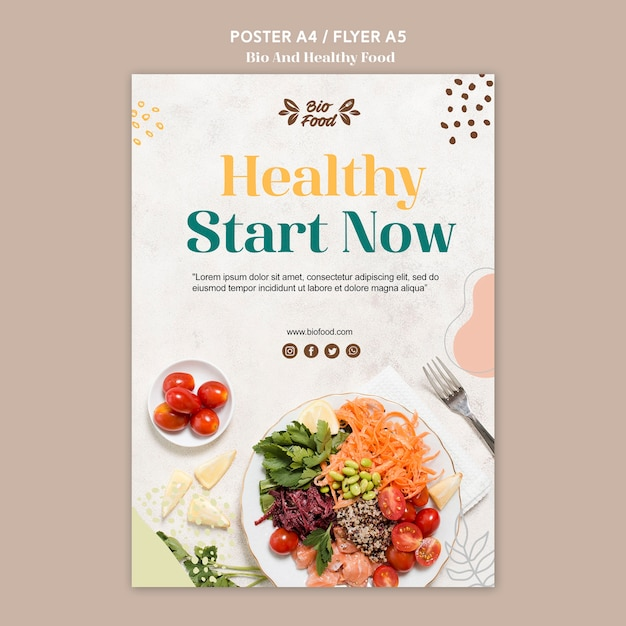 Poster template with healthy food Free Psd