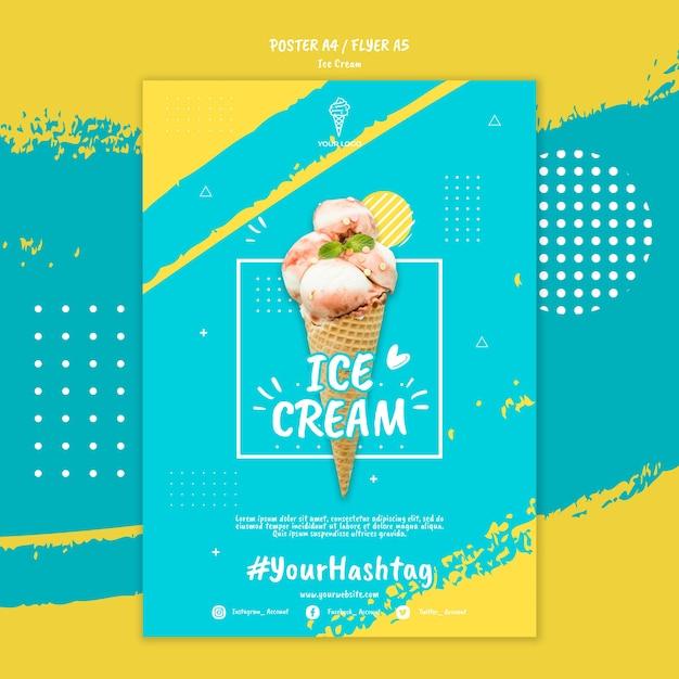 Шаблон постера с концепцией мороженого Бесплатные Psd