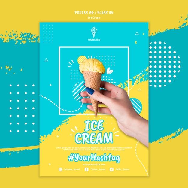 Шаблон постера с дизайном мороженого Бесплатные Psd