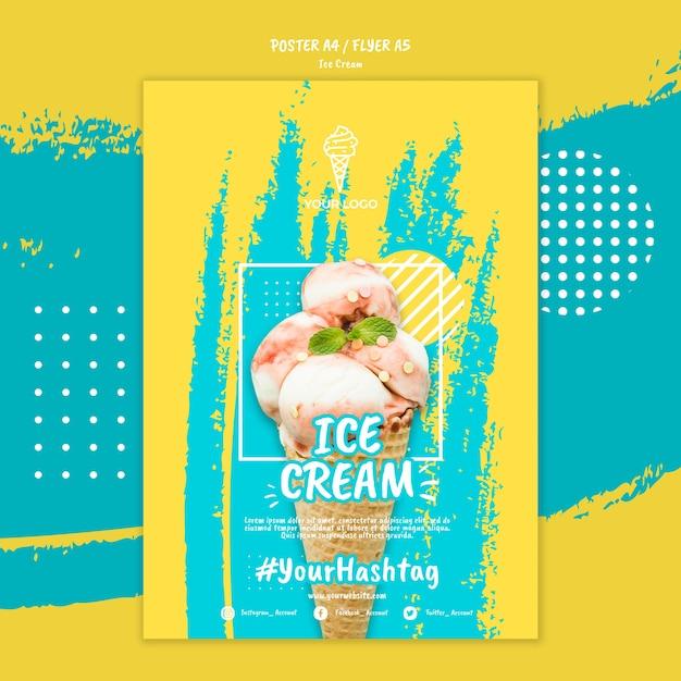 Шаблон постера в стиле мороженого Бесплатные Psd