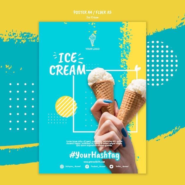Шаблон постера с мороженым Бесплатные Psd