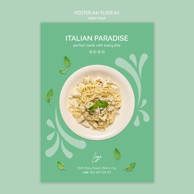 イタリア料理のポスターテンプレート 無料 Psd