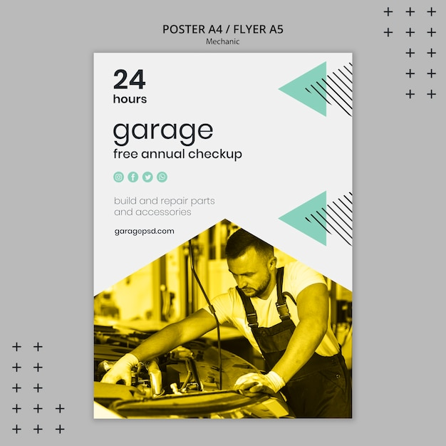 Poster template with mechanic concept Free Psd