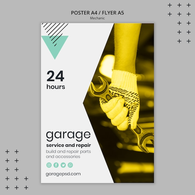 Poster template with mechanic Free Psd