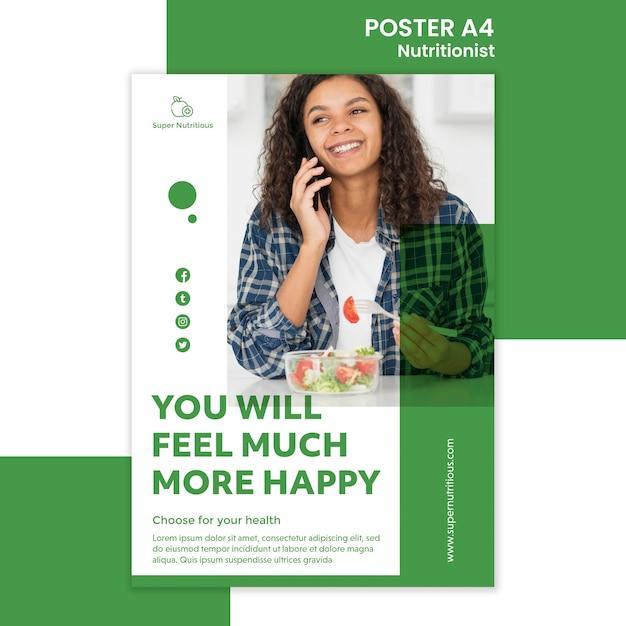 栄養士のアドバイスを含むポスターテンプレート 無料 Psd