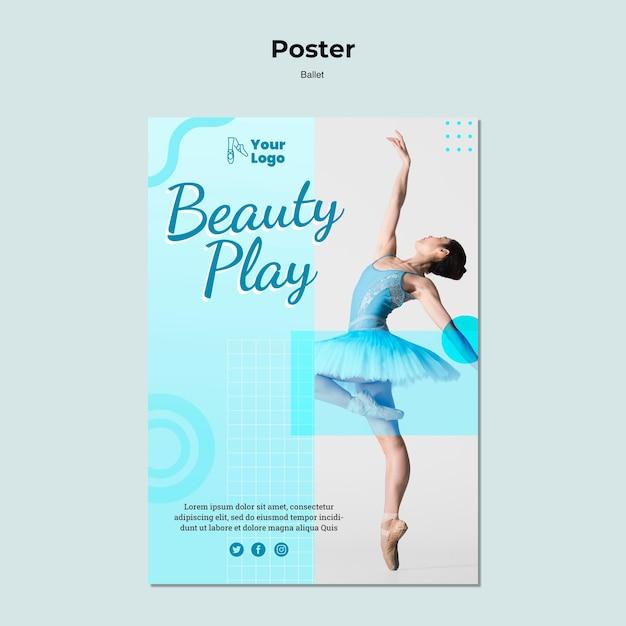 Шаблон постера с фотографией балерины Бесплатные Psd