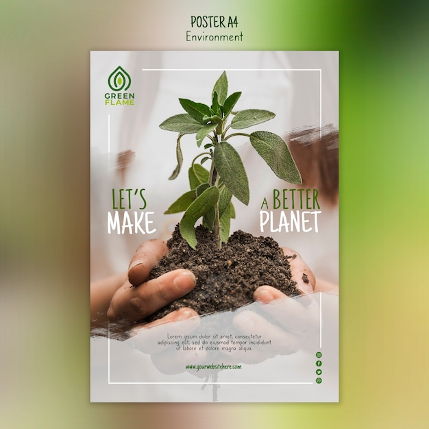 Poster template with plant held in hands Free Psd