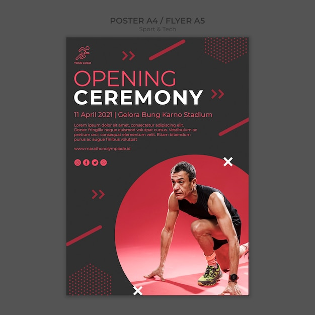 Poster template withsport and tech design Free Psd