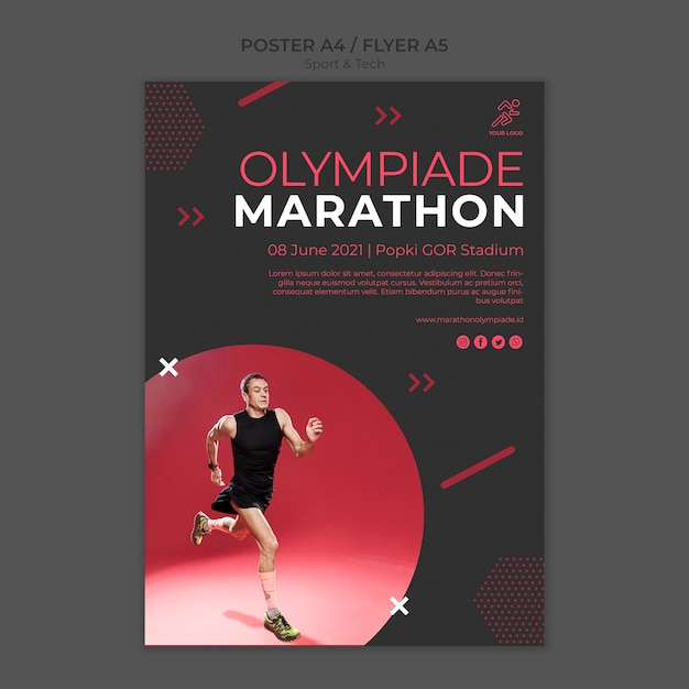Poster template withsport and tech theme Free Psd