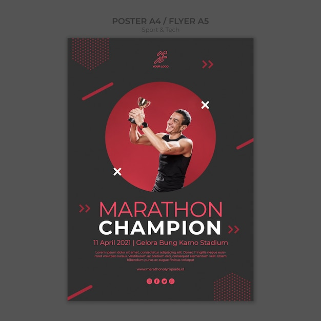 Poster template withsport and tech Free Psd