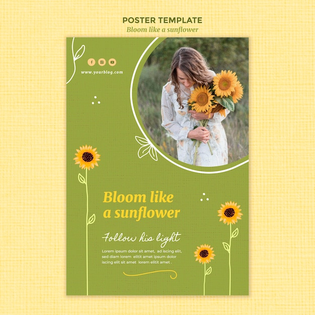 Poster template with sunflowers and woman Free Psd